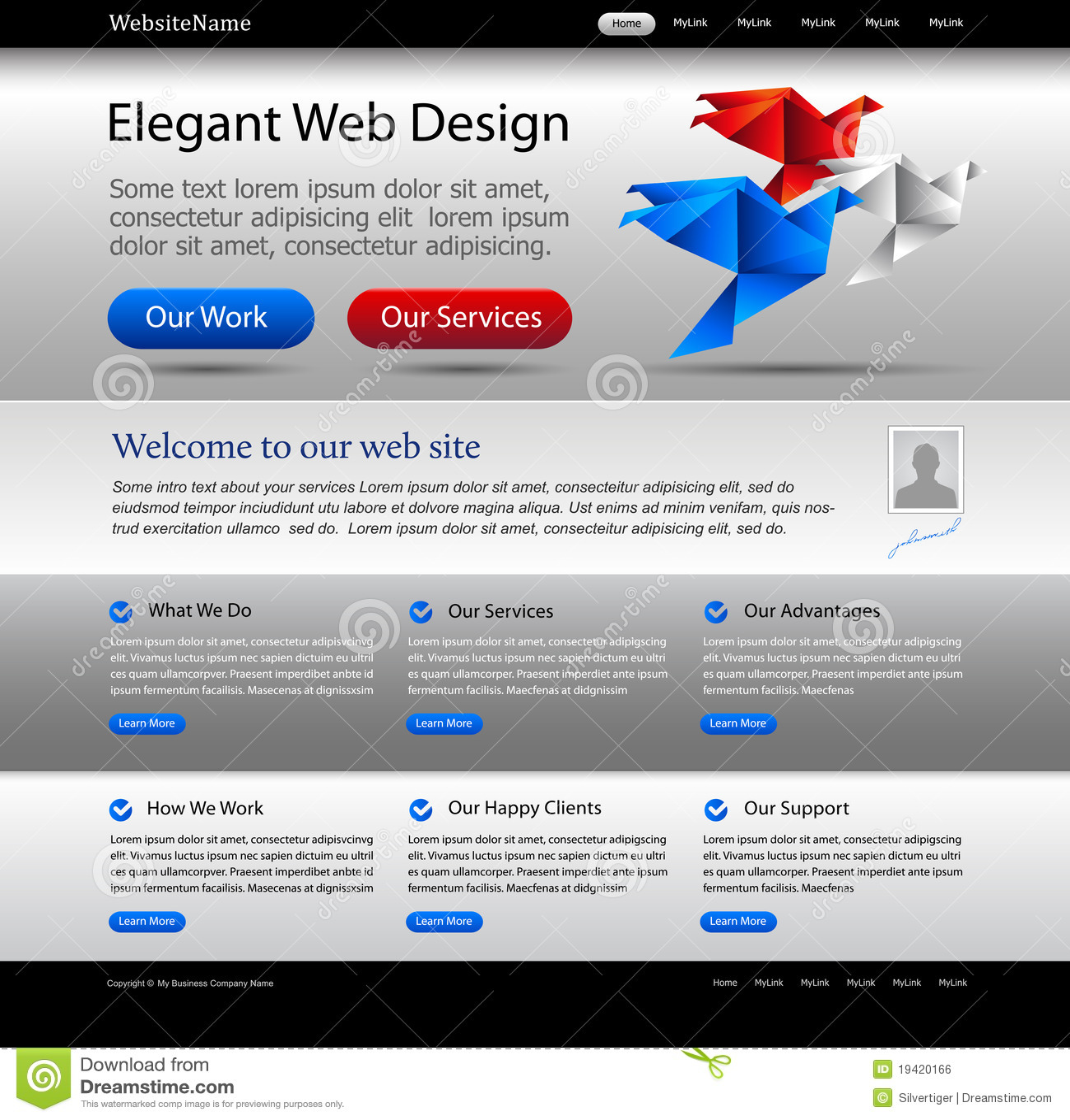 Biznesu srebna szablonu strona internetowa