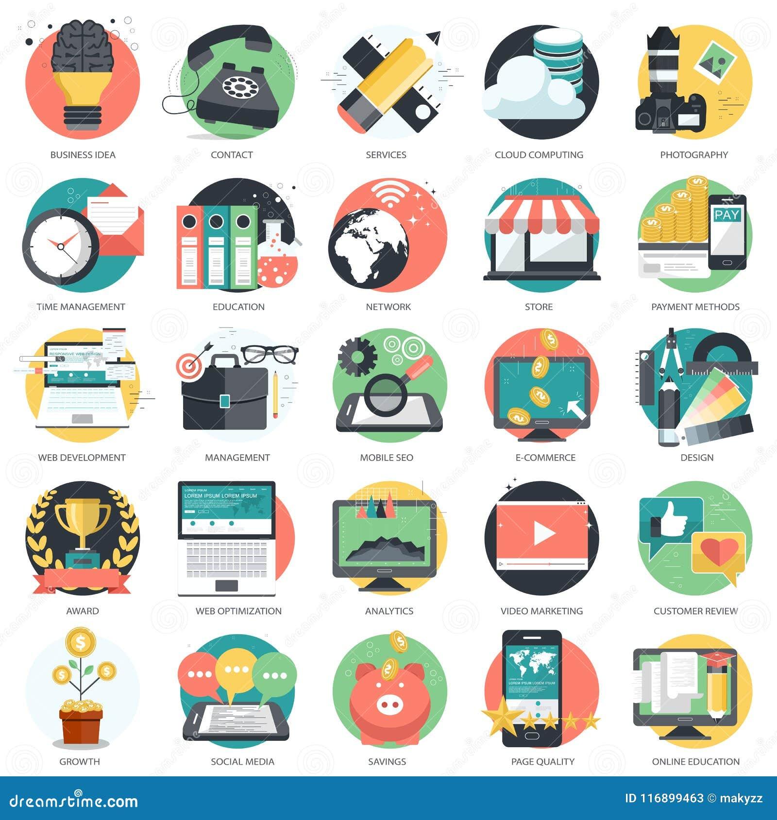 Biznesu, technologii i finansów ikona ustawiająca dla, i Płaski wektor