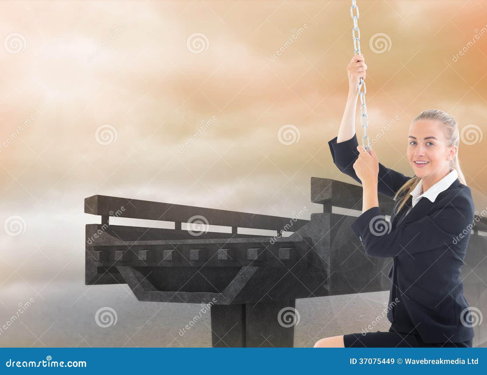 Download Bizneswoman Ciągnie łańcuch Obraz Stock - Obraz złożonej z grafika, profesjonalizm: 37075449