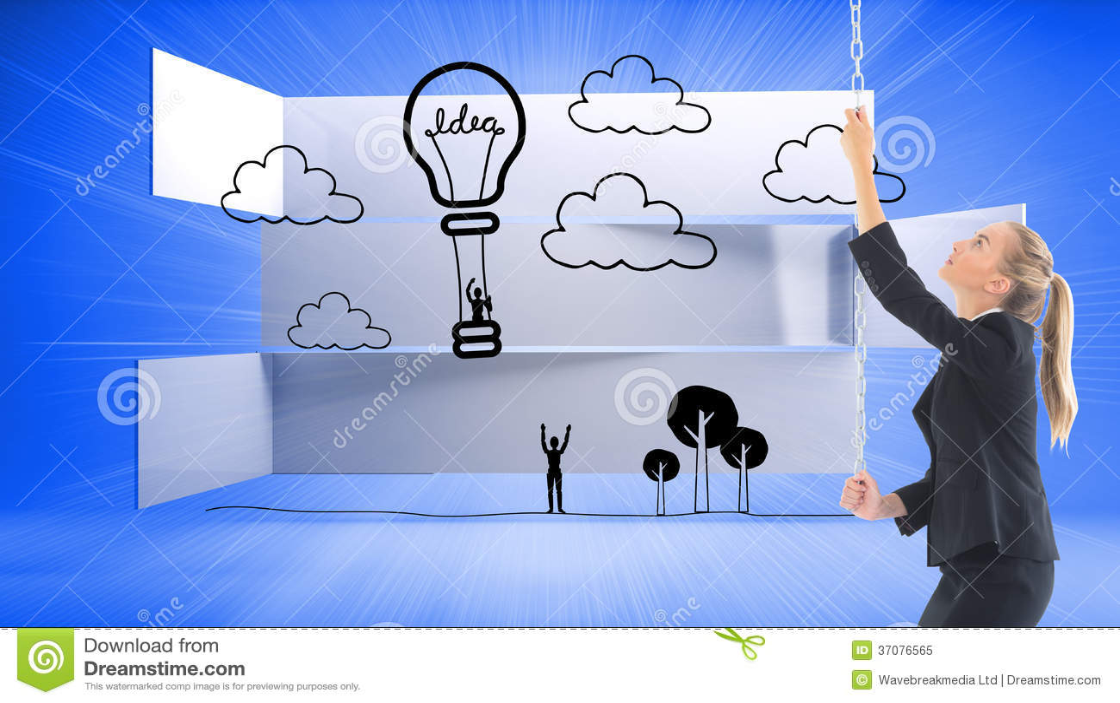 Download Bizneswoman Ciągnie łańcuch Obraz Stock - Obraz złożonej z gorący, żarówka: 37076565