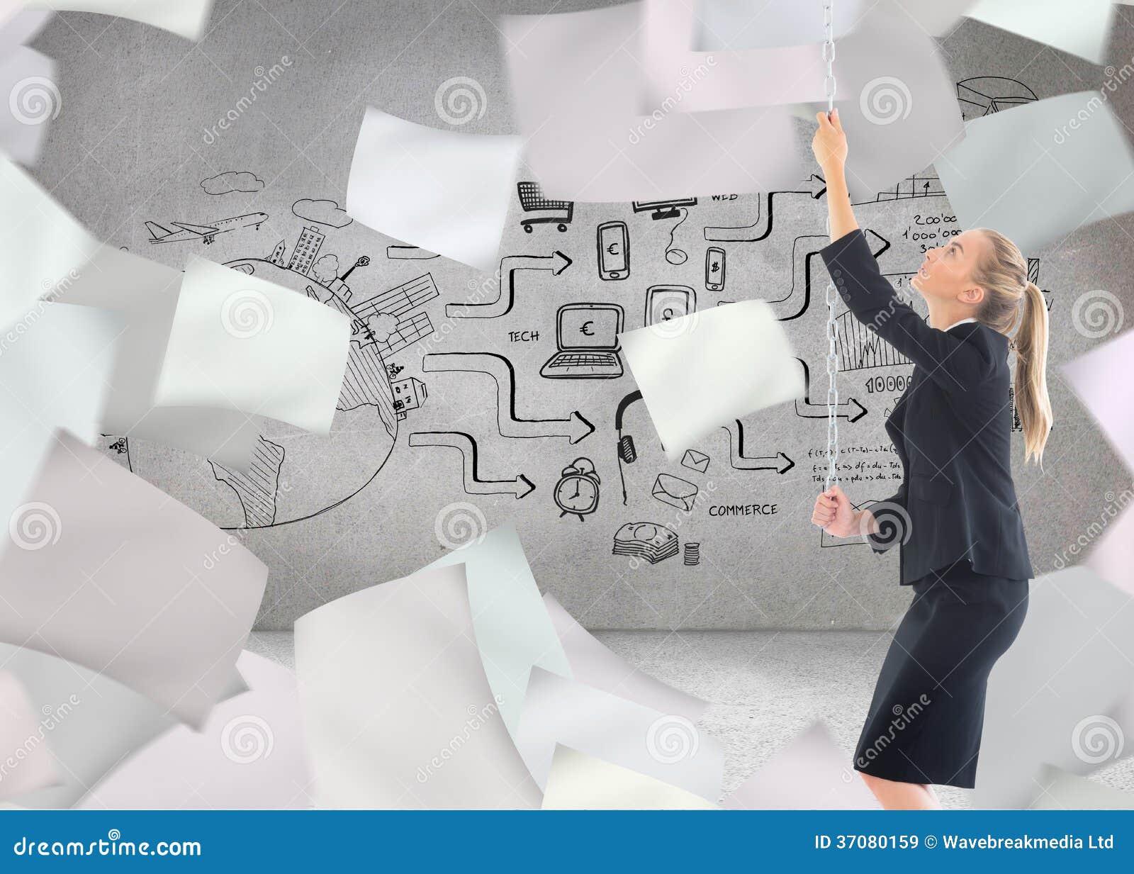 Download Bizneswoman Ciągnie łańcuch Obraz Stock - Obraz złożonej z laptop, strategia: 37080159
