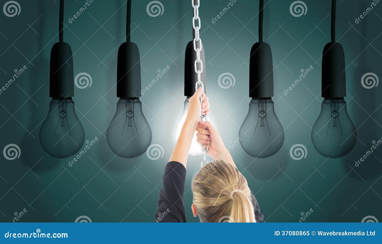 Download Bizneswoman Ciągnie łańcuch Obraz Stock - Obraz złożonej z nitkowy, innovate: 37080865