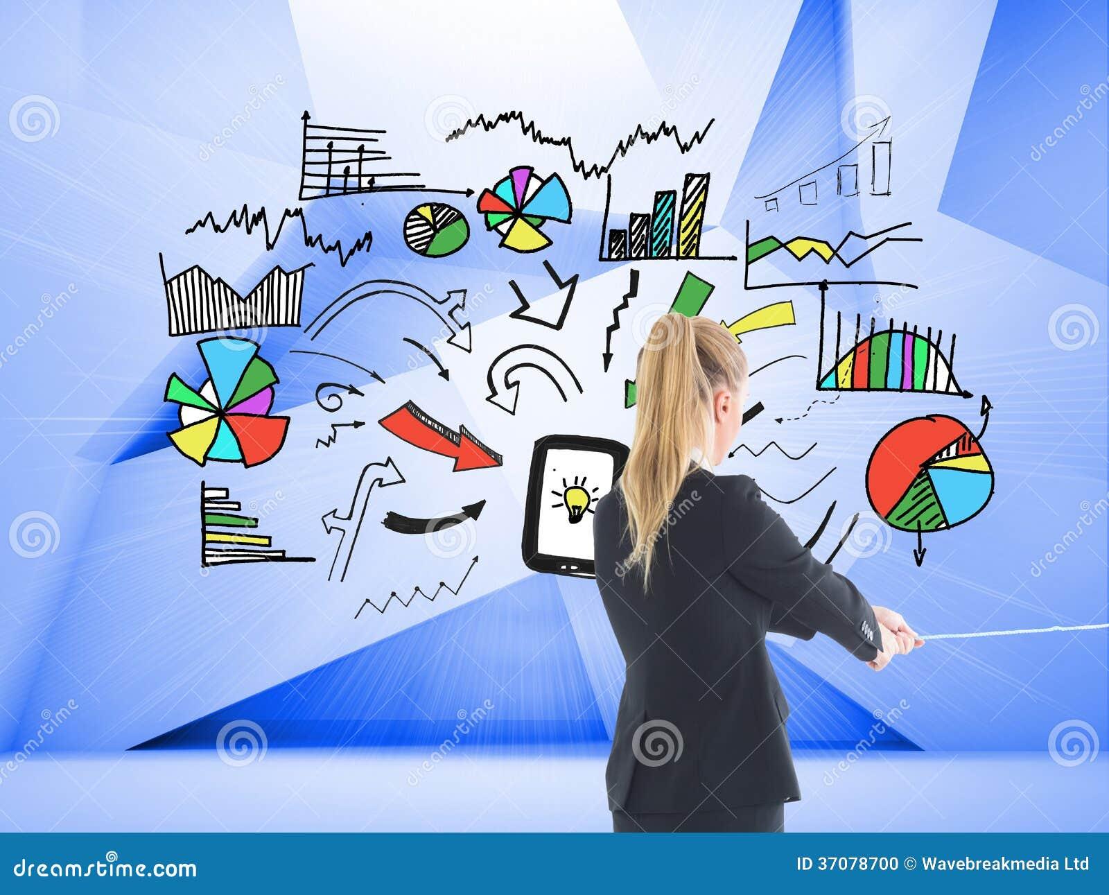 Download Bizneswoman ciągnie arkanę zdjęcie stock. Obraz złożonej z technologia - 37078700