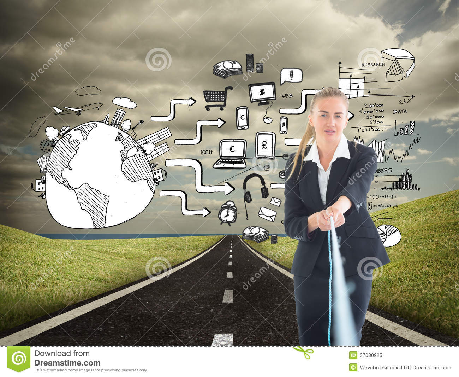 Download Bizneswoman ciągnie arkanę obraz stock. Obraz złożonej z osoba - 37080925