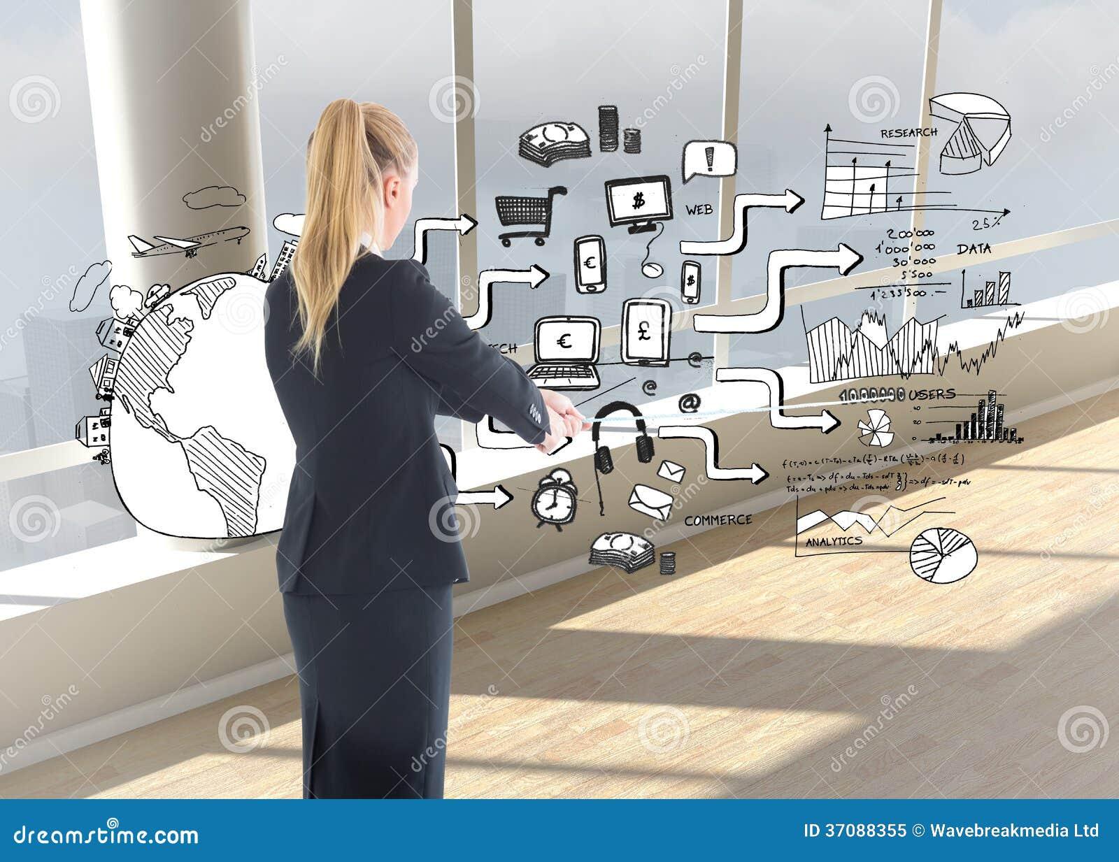 Download Bizneswoman ciągnie arkanę obraz stock. Obraz złożonej z komputer - 37088355