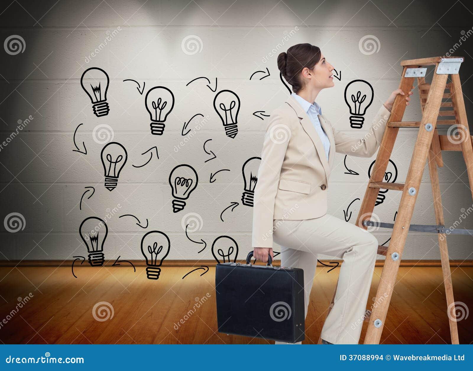 Download Bizneswoman Kariery Wspinaczkowa Drabina Z Teczką Zdjęcie Stock - Obraz złożonej z brunetka, composite: 37088994