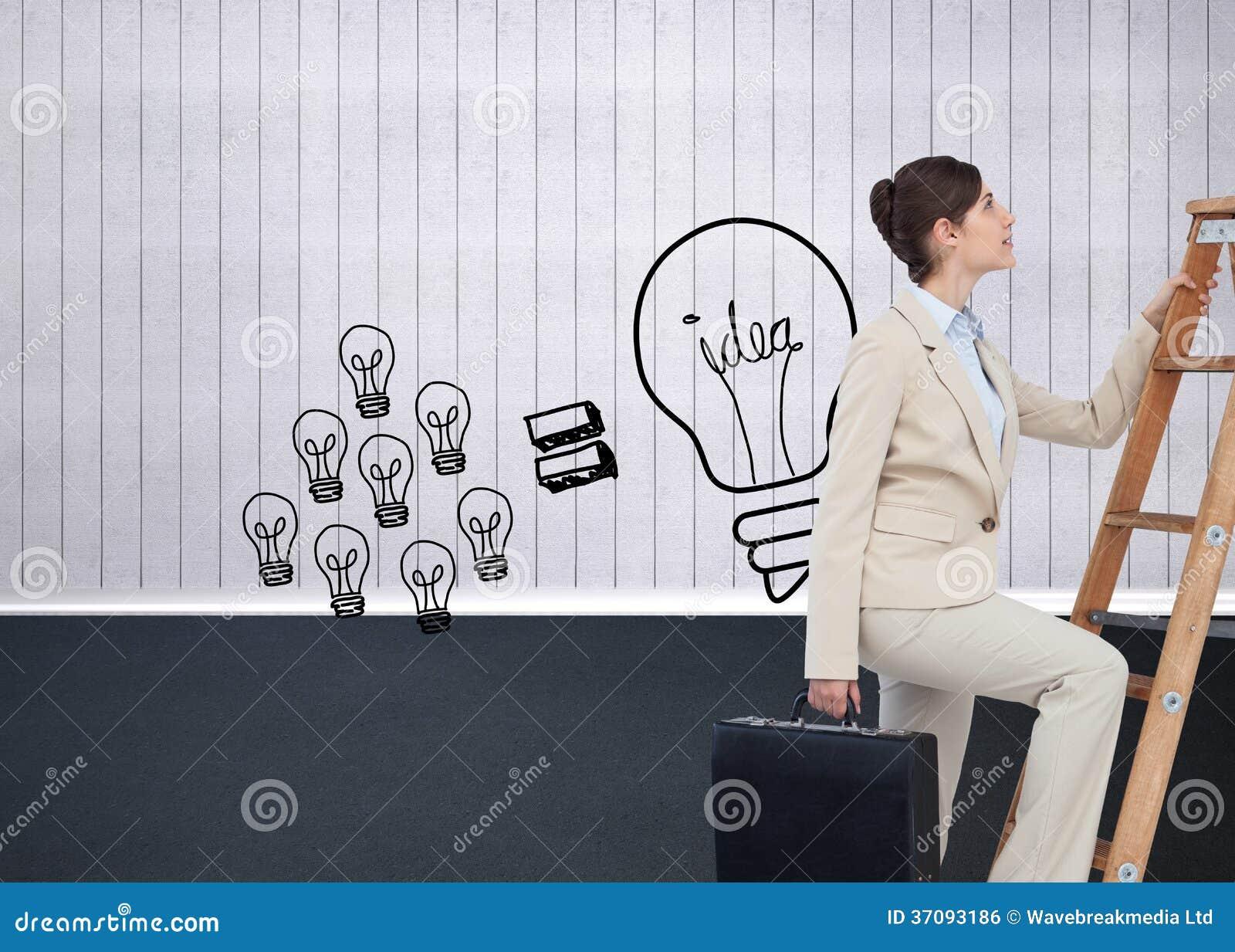 Download Bizneswoman Kariery Wspinaczkowa Drabina Z Teczką Zdjęcie Stock - Obraz złożonej z hairball, dosyć: 37093186