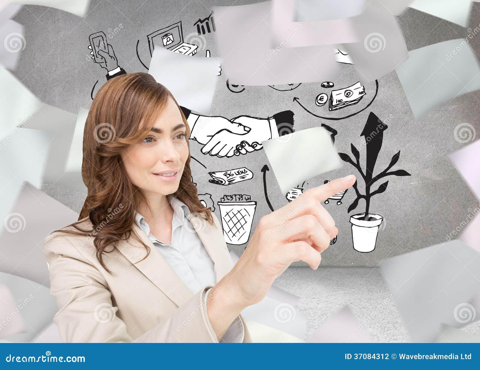 Download Bizneswoman Naciska Niewidzialnego Klucz Zdjęcie Stock - Obraz złożonej z dochodowość, well: 37084312