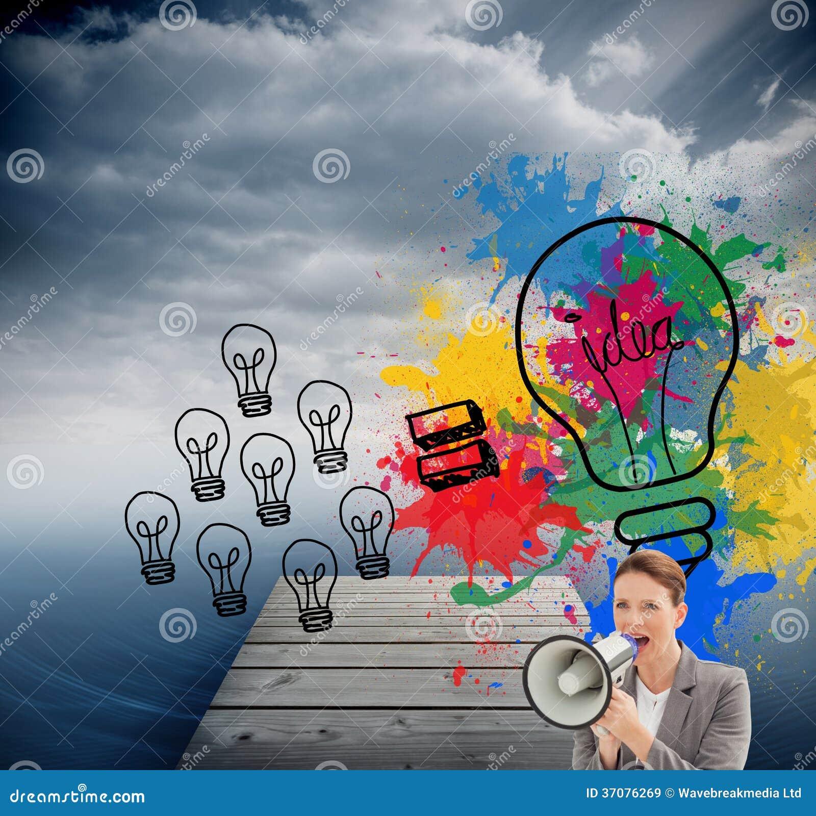 Download Bizneswoman Opowiada Na Megafonie Ilustracji - Ilustracja złożonej z chmury, wytwarza: 37076269