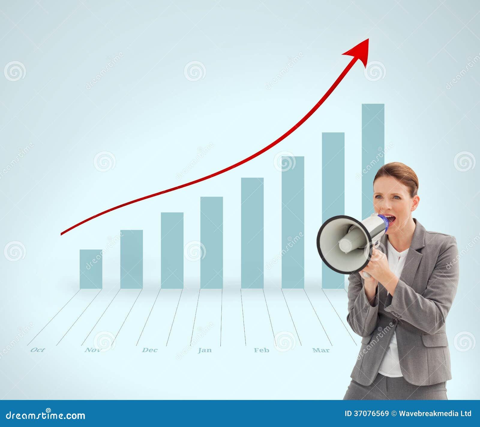 Download Bizneswoman Opowiada Na Megafonie Obraz Stock - Obraz złożonej z grafika, biznes: 37076569
