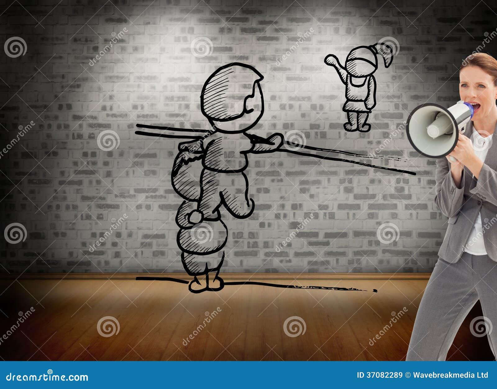 Download Bizneswoman Opowiada Na Megafonie Obraz Stock - Obraz złożonej z jeden, doodle: 37082289