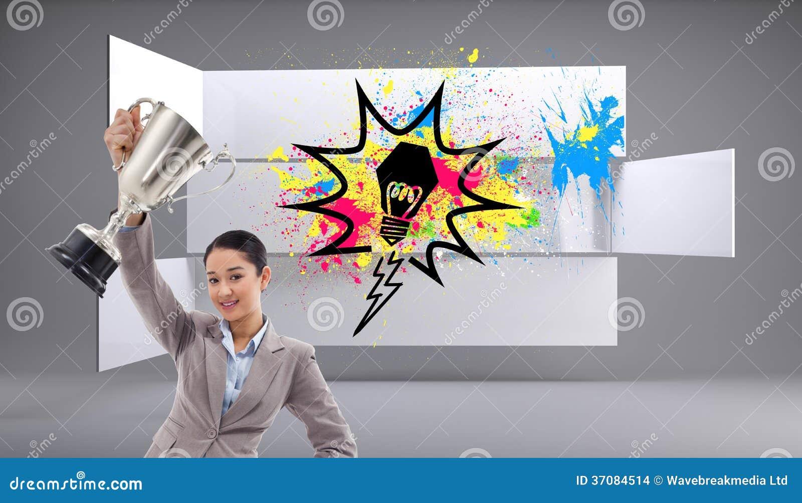 Download Bizneswoman Pokazuje Filiżankę Zdjęcie Stock - Obraz złożonej z biznes, pomysł: 37084514