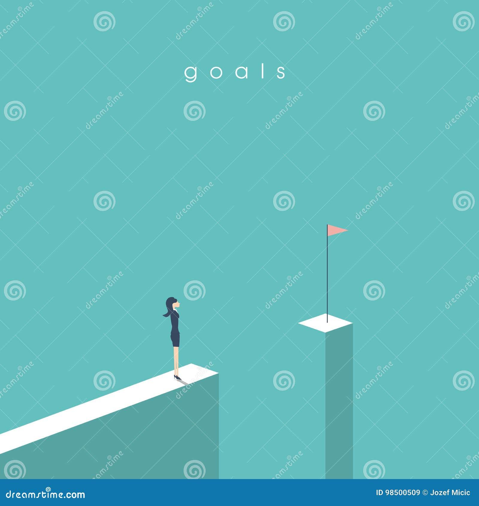 Bizneswoman pozycja przed przerwą patrzeje flaga Biznesowy pojęcie cele, sukces, osiągnięcie i wyzwanie,