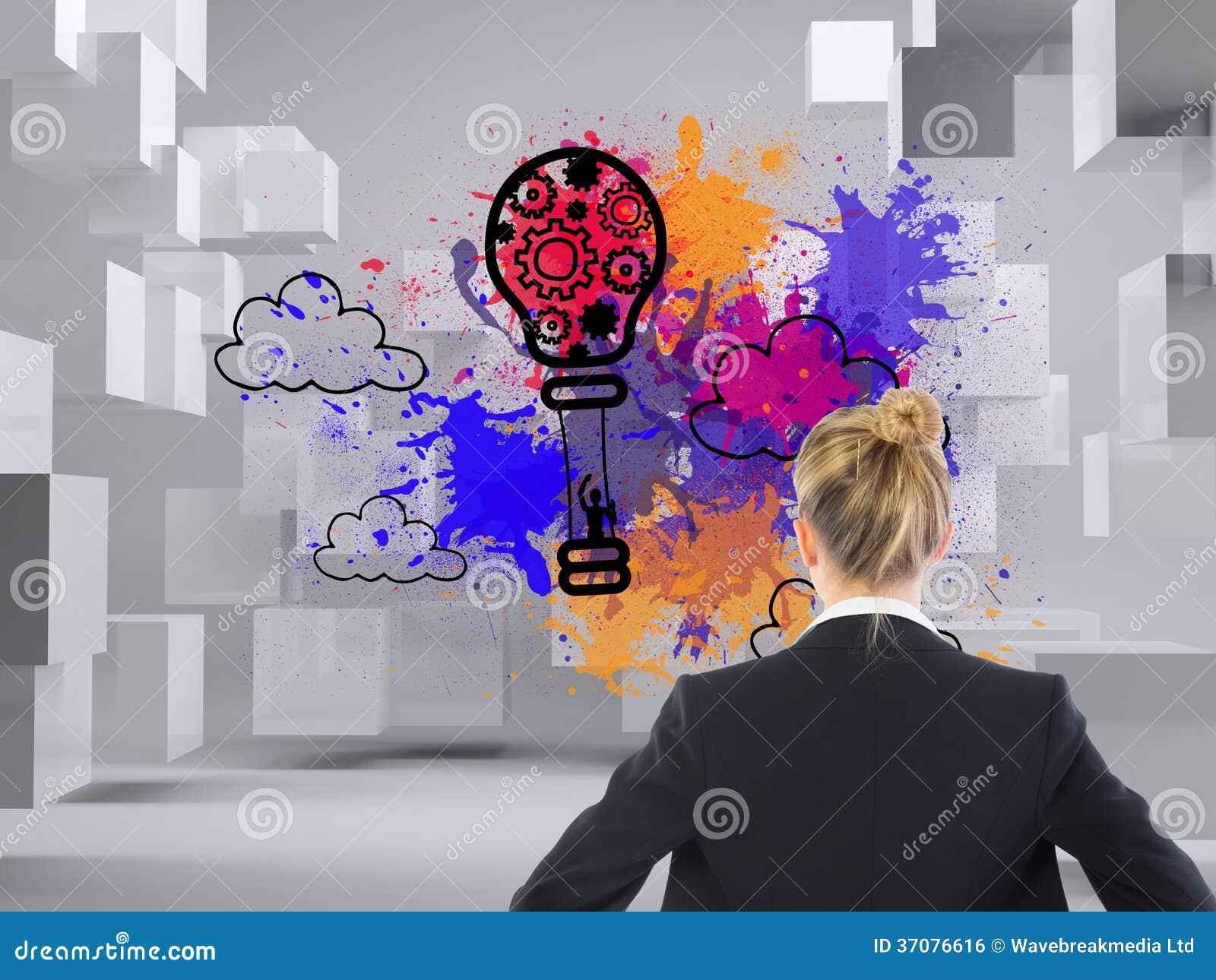 Download Bizneswoman Pozycja Z Rękami Na Biodrach Zdjęcie Stock - Obraz złożonej z balon, innovate: 37076616