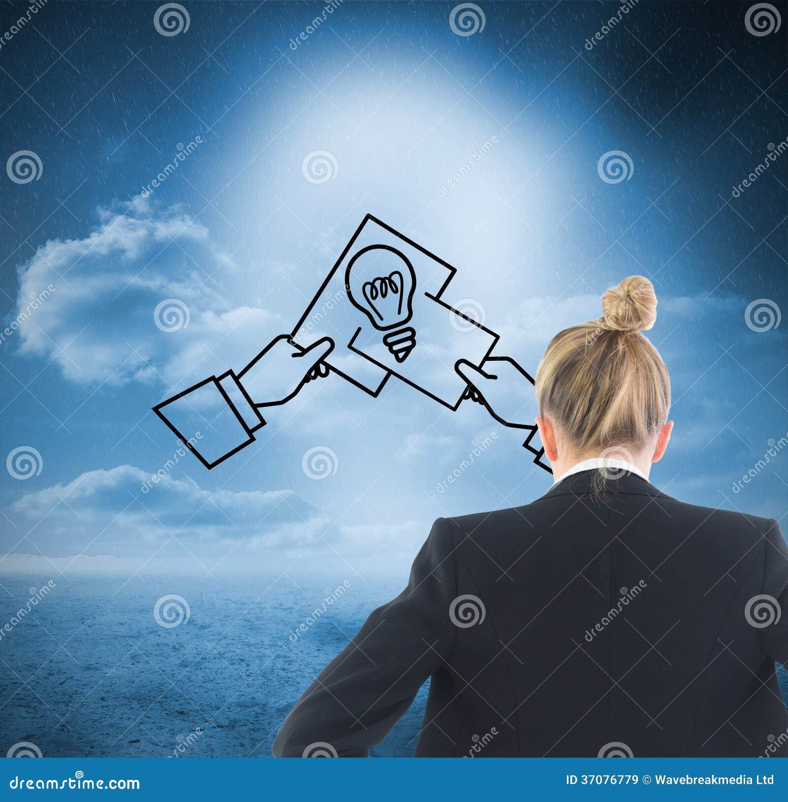 Download Bizneswoman Pozycja Z Rękami Na Biodrach Obraz Stock - Obraz złożonej z krajobraz, pomysł: 37076779