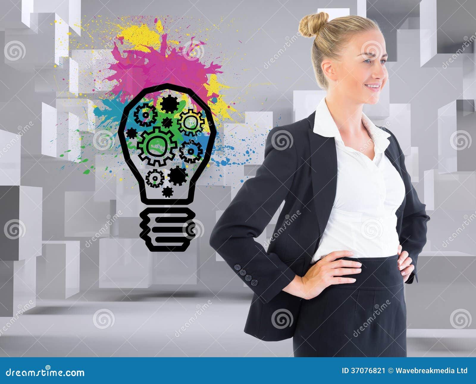 Download Bizneswoman Pozycja Z Rękami Na Biodrach Obraz Stock - Obraz złożonej z mądrze, kobiety: 37076821