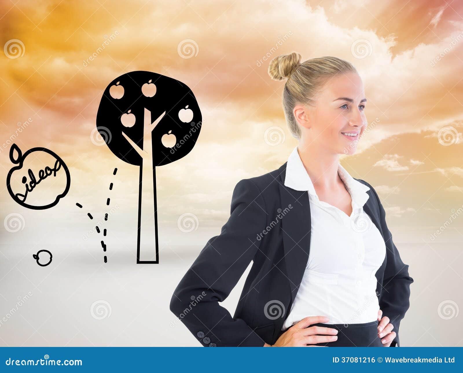 Download Bizneswoman Pozycja Z Rękami Na Biodrach Zdjęcie Stock - Obraz złożonej z komputer, sunshine: 37081216