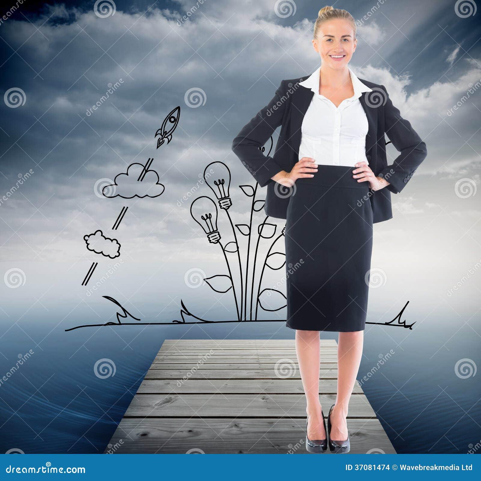 Download Bizneswoman Pozycja Z Rękami Na Biodrach Ilustracji - Ilustracja złożonej z ocean, wodowanie: 37081474