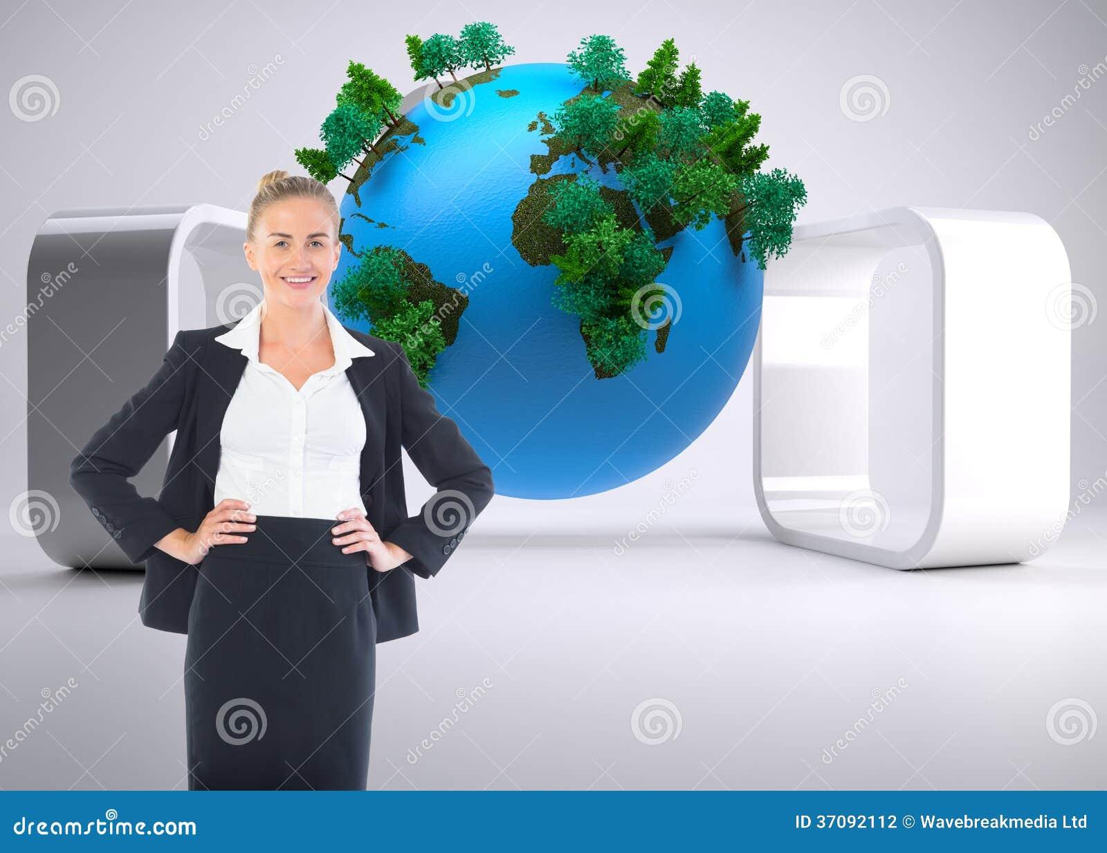 Download Bizneswoman Pozycja Z Rękami Na Biodrach Zdjęcie Stock - Obraz złożonej z digitalis, drzewo: 37092112