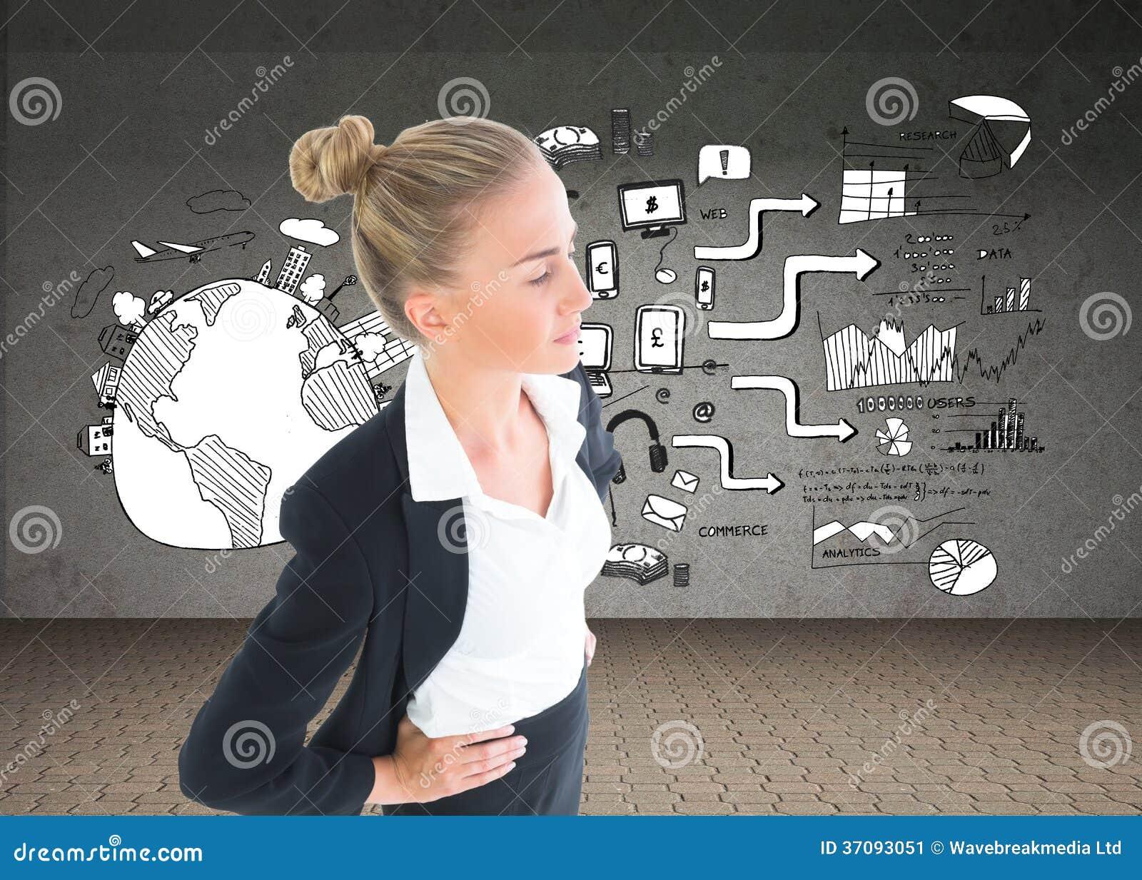Download Bizneswoman Pozycja Z Rękami Na Biodrach Obraz Stock - Obraz złożonej z społeczności, globalny: 37093051