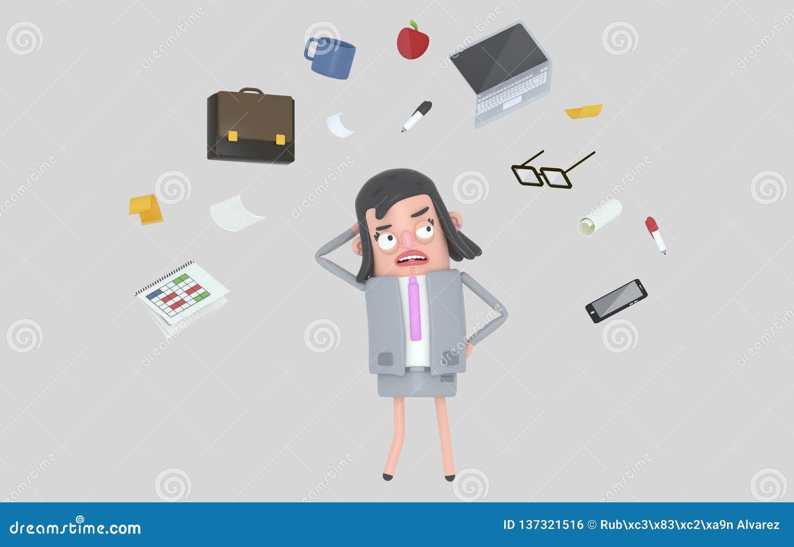 Bizneswoman stresuje się patrzejący biurowych akcesoria odosobniony