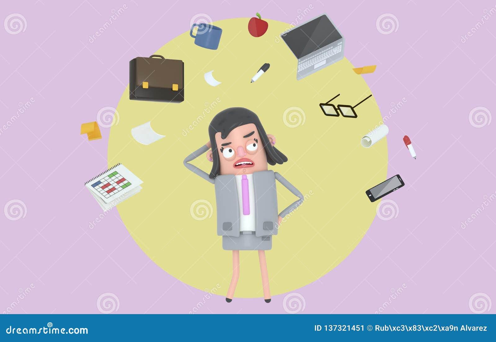 Bizneswoman stresuje się patrzejący biurowych akcesoria Tło odosobniony