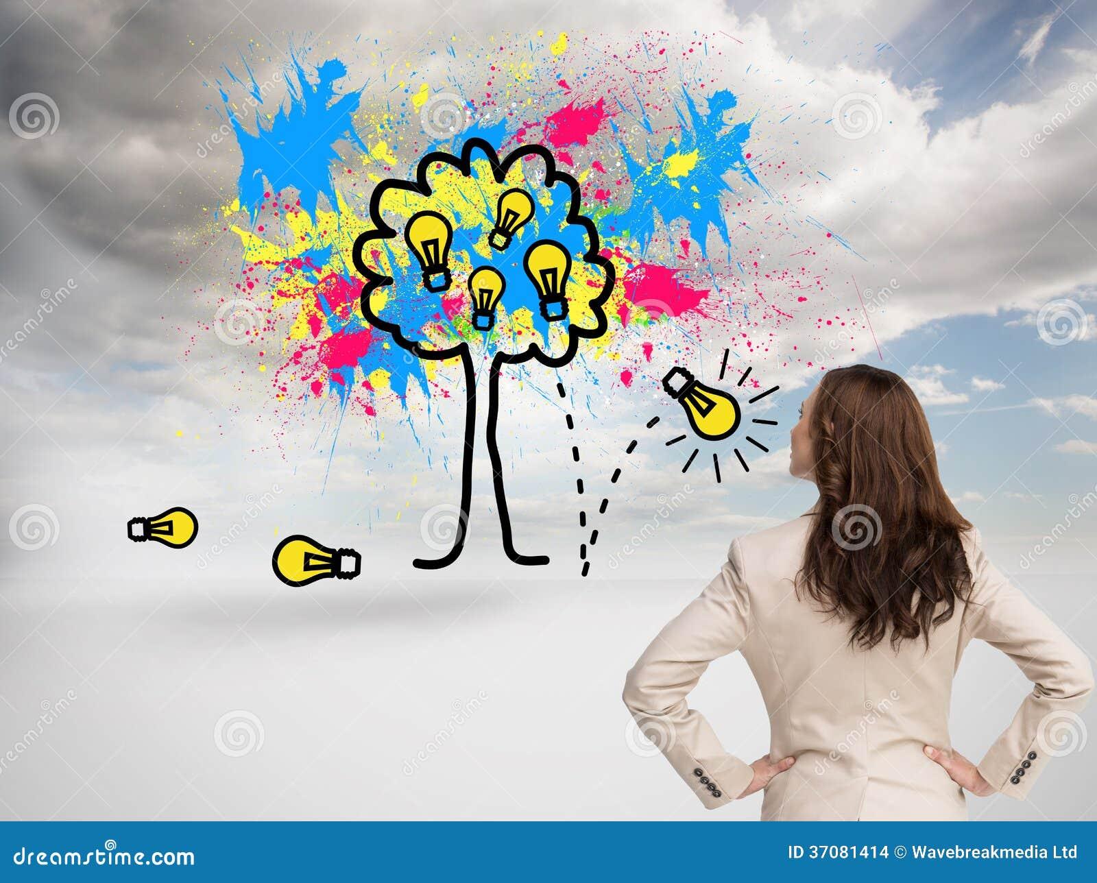 Download Bizneswoman Trwanie Kamera Z Powrotem Zdjęcie Stock - Obraz złożonej z grafika, błękitny: 37081414