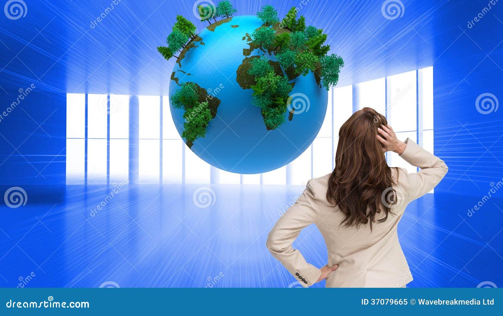 Download Bizneswoman Trwanie Kamera Z Ręką Na Głowie Z Powrotem Obraz Stock - Obraz złożonej z natura, digitalis: 37079665