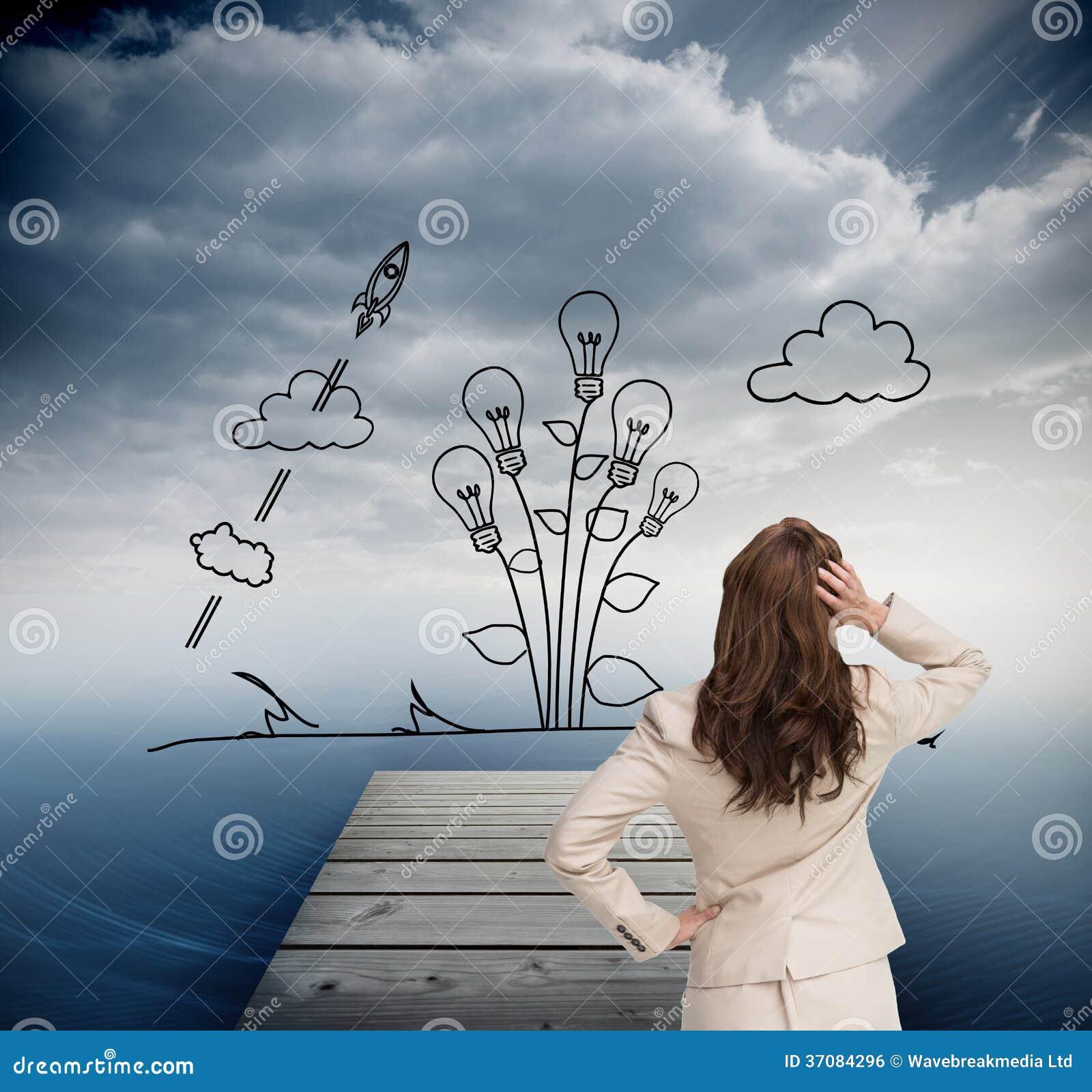 Download Bizneswoman Trwanie Kamera Z Ręką Na Głowie Z Powrotem Ilustracji - Ilustracja złożonej z digitalis, chmury: 37084296