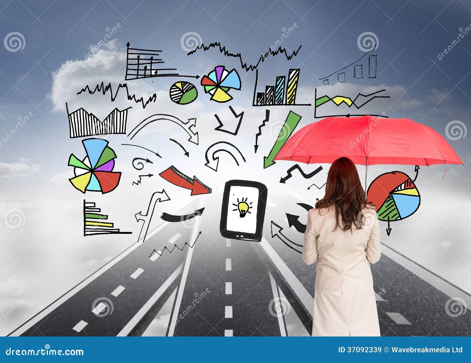 Download Bizneswoman Trwanie Kamery Mienia Czerwieni Parasol Z Powrotem Obraz Stock - Obraz złożonej z asfalt, digitalis: 37092339