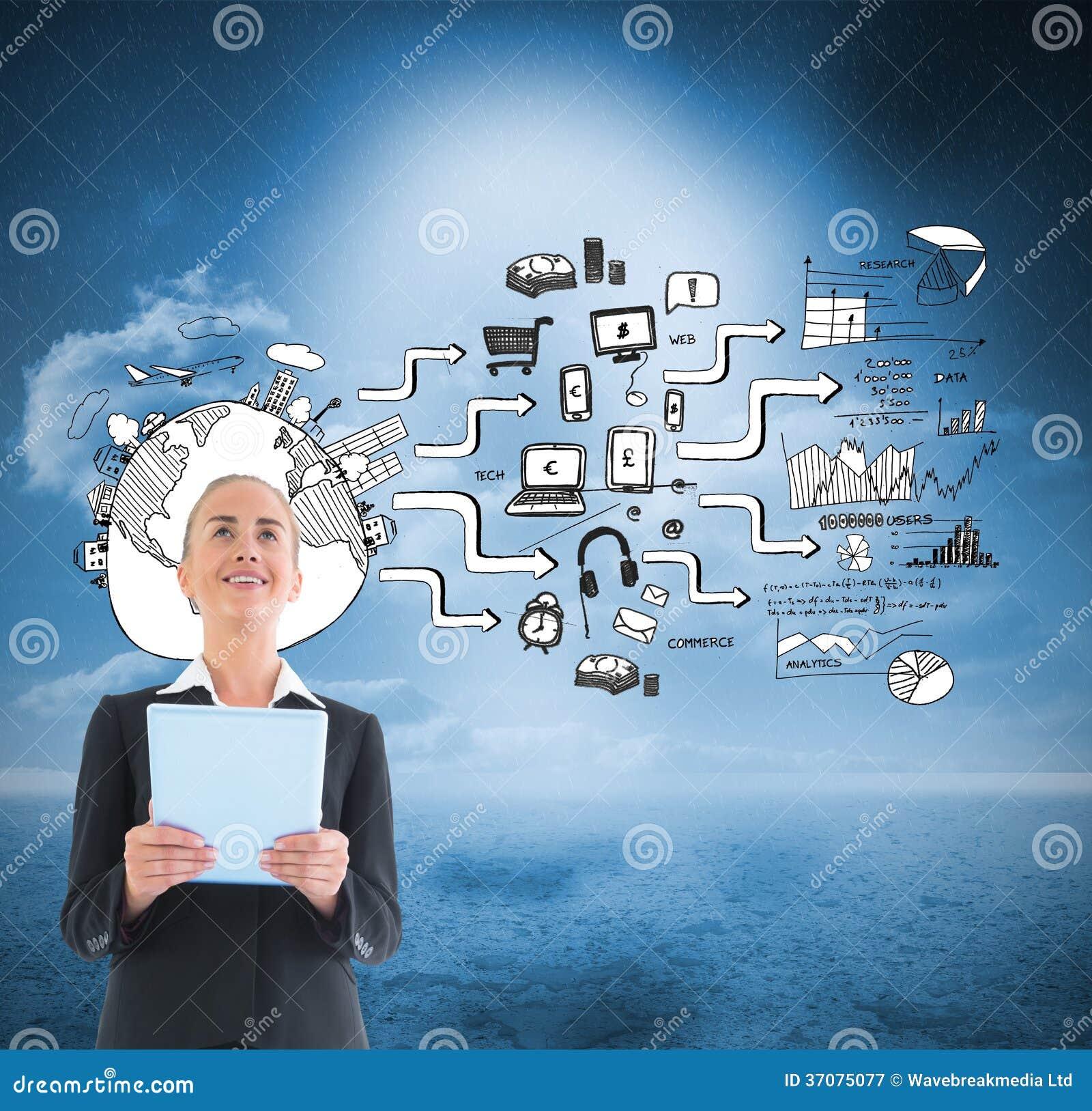 Download Bizneswoman Trzyma Nową Pastylkę Obraz Stock - Obraz złożonej z wytwarza, pieniądze: 37075077