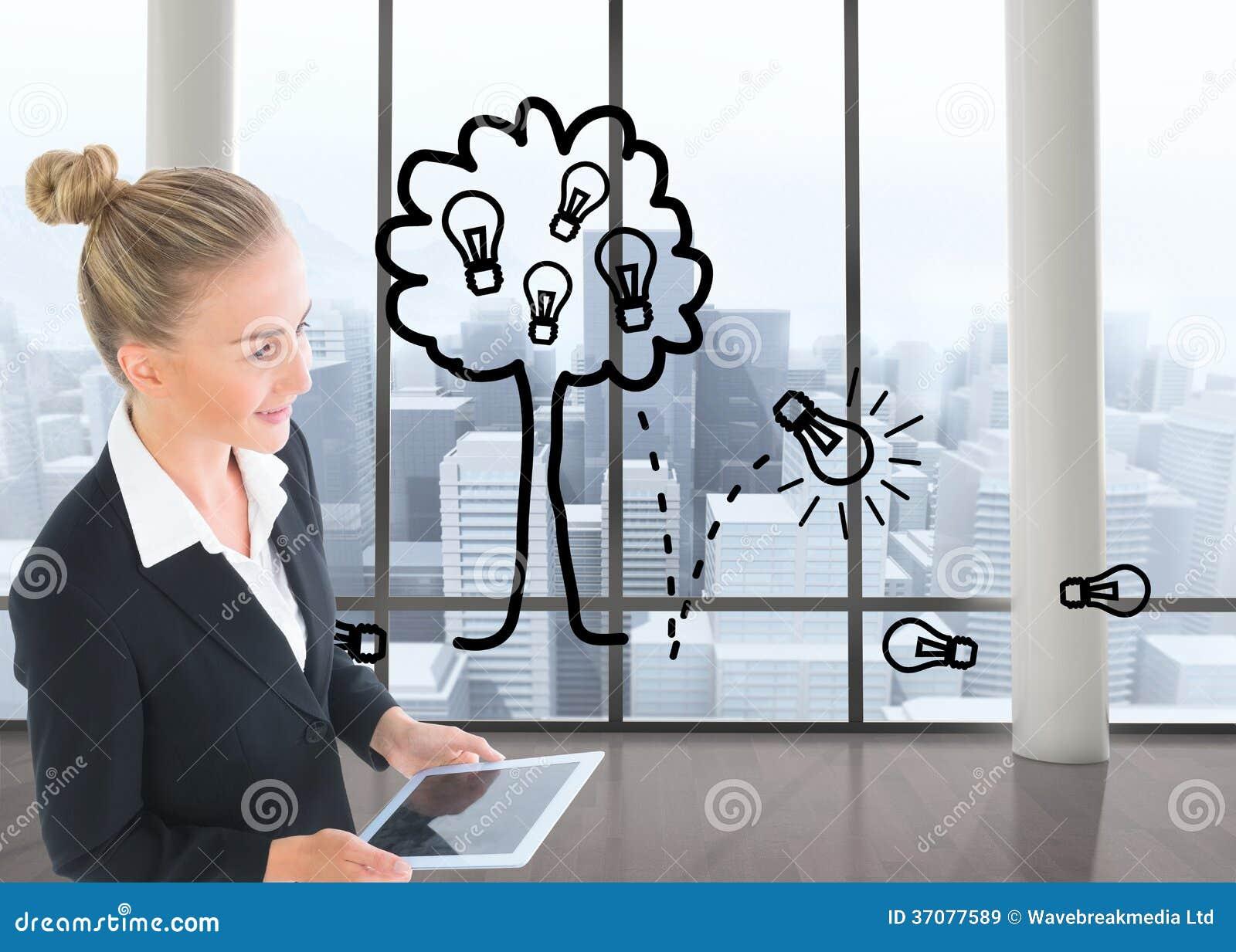 Download Bizneswoman Trzyma Nową Pastylkę Obraz Stock - Obraz złożonej z jaskrawy, innowacja: 37077589