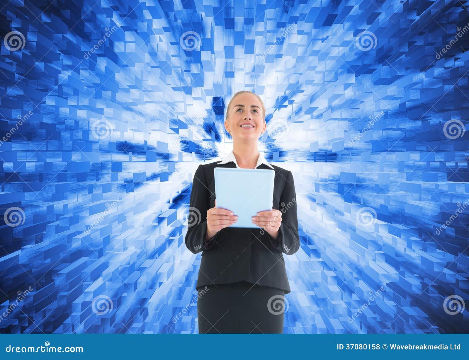 Download Bizneswoman Trzyma Nową Pastylkę Zdjęcie Stock - Obraz złożonej z błękitny, kostium: 37080158