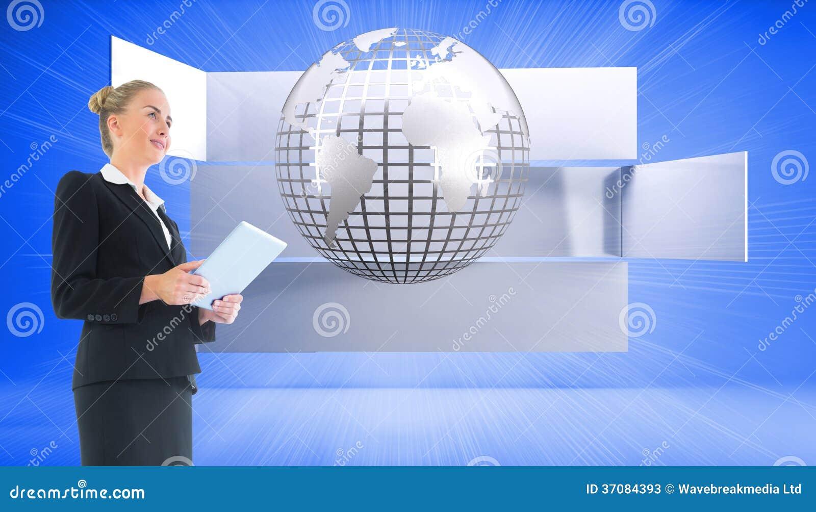 Download Bizneswoman Trzyma Nową Pastylkę Obraz Stock - Obraz złożonej z griddle, prostokąt: 37084393