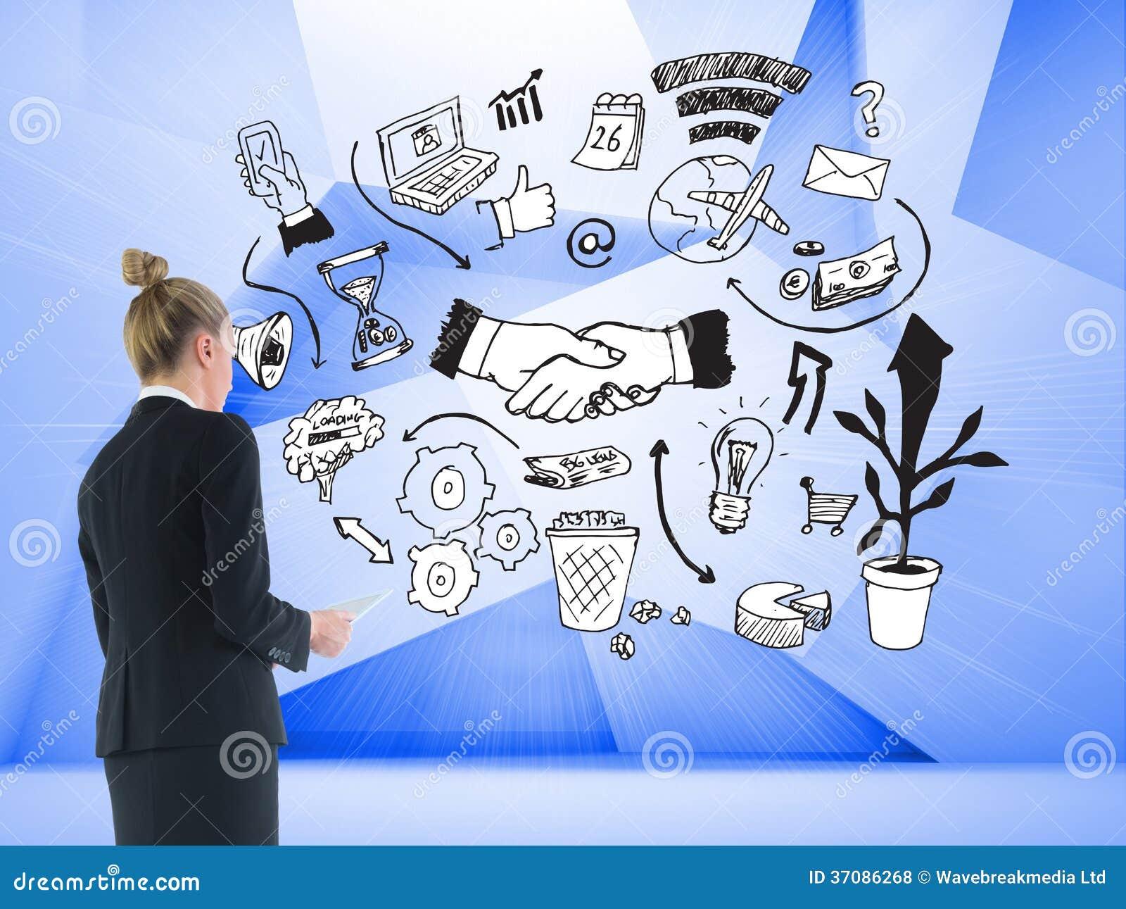 Download Bizneswoman Trzyma Nową Pastylkę Zdjęcie Stock - Obraz złożonej z kobiety, kostium: 37086268