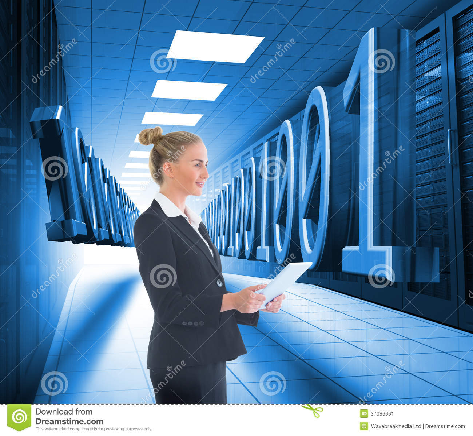 Download Bizneswoman Trzyma Nową Pastylkę Obraz Stock - Obraz złożonej z informacja, błękitny: 37086661