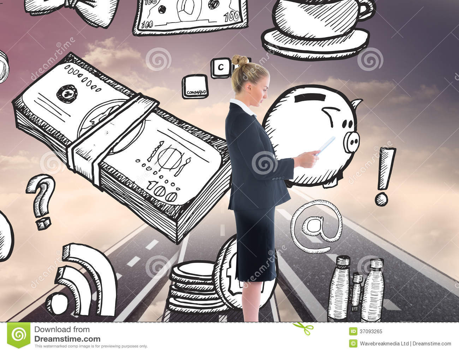 Download Bizneswoman Trzyma Nową Pastylkę Obraz Stock - Obraz złożonej z konceptualny, composite: 37093265