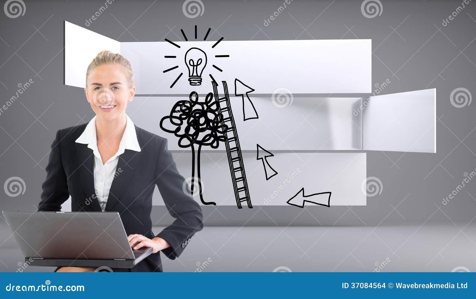 Download Bizneswoman używa laptop zdjęcie stock. Obraz złożonej z gładki - 37084564