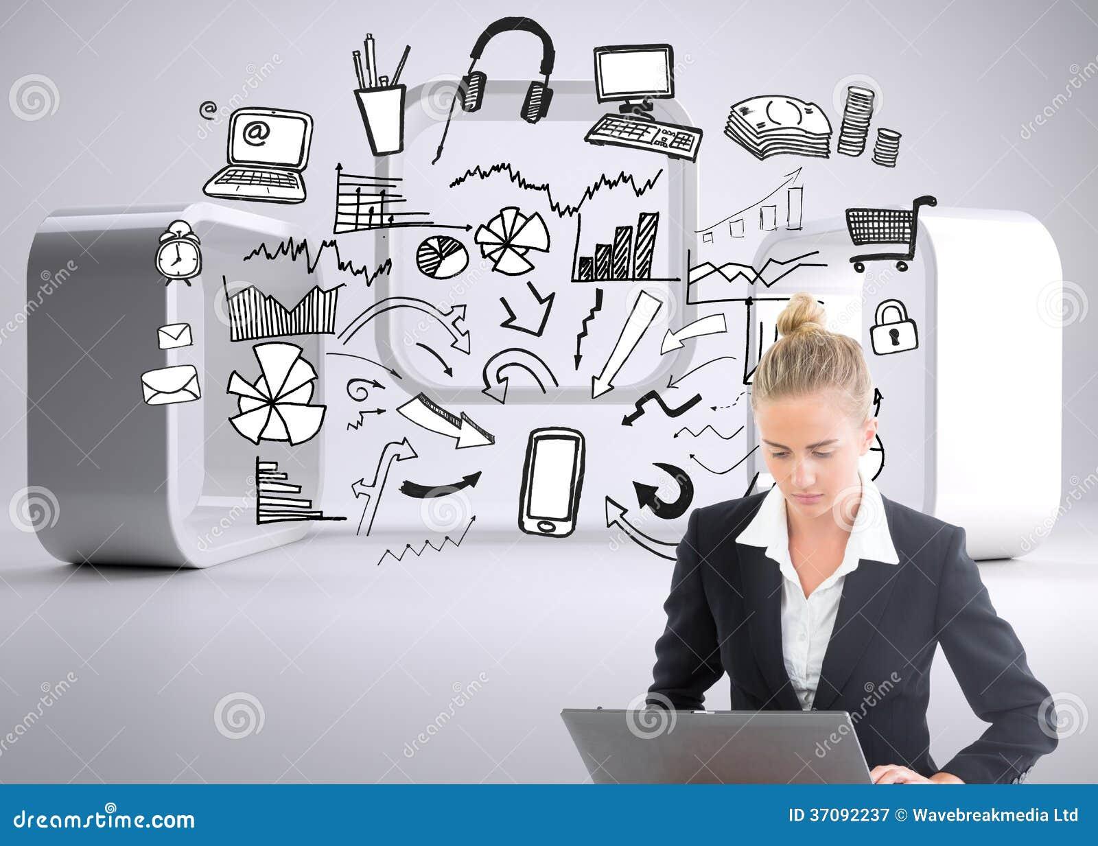 Download Bizneswoman używa laptop obraz stock. Obraz złożonej z technologia - 37092237