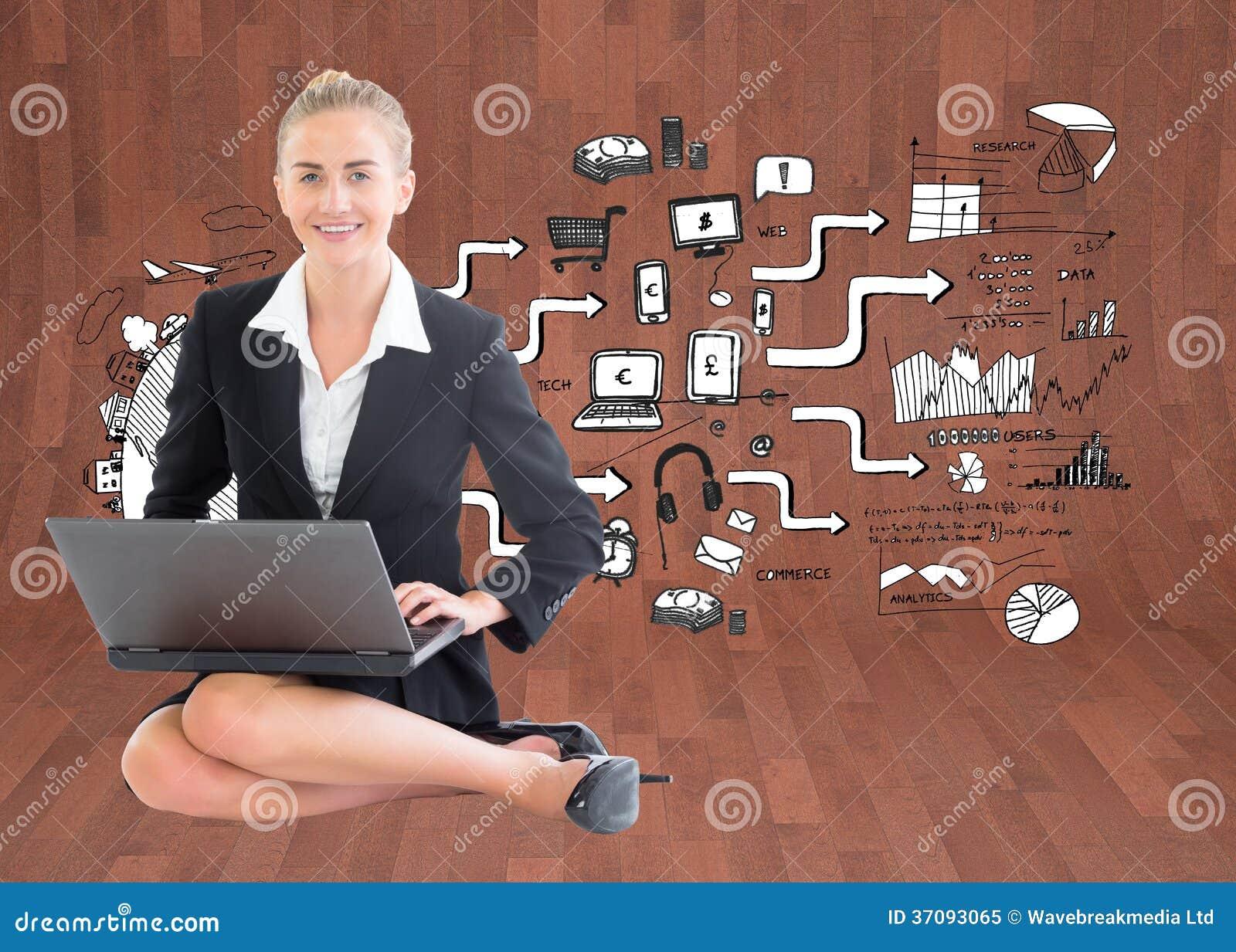 Download Bizneswoman używa laptop obraz stock. Obraz złożonej z laptop - 37093065