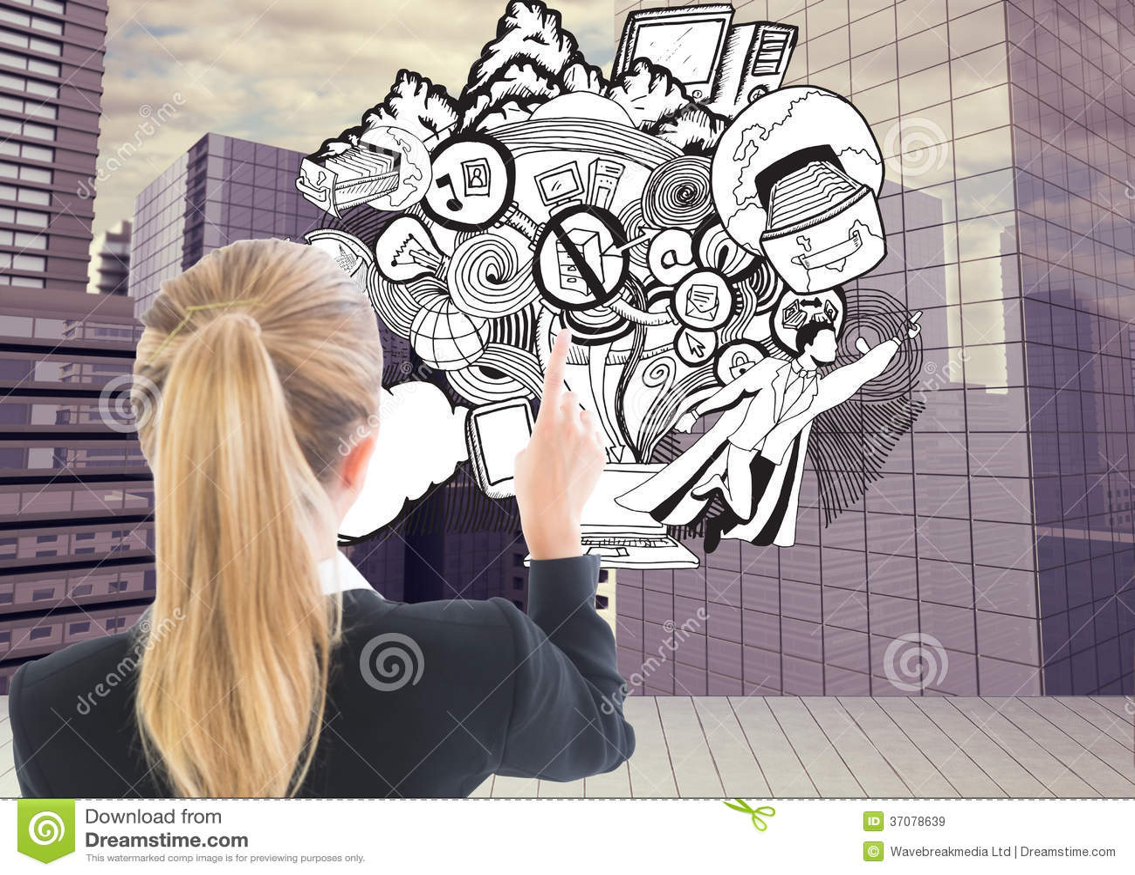 Download Bizneswoman Wskazuje Gdzieś Obraz Stock - Obraz złożonej z digitalis, skyscraper: 37078639