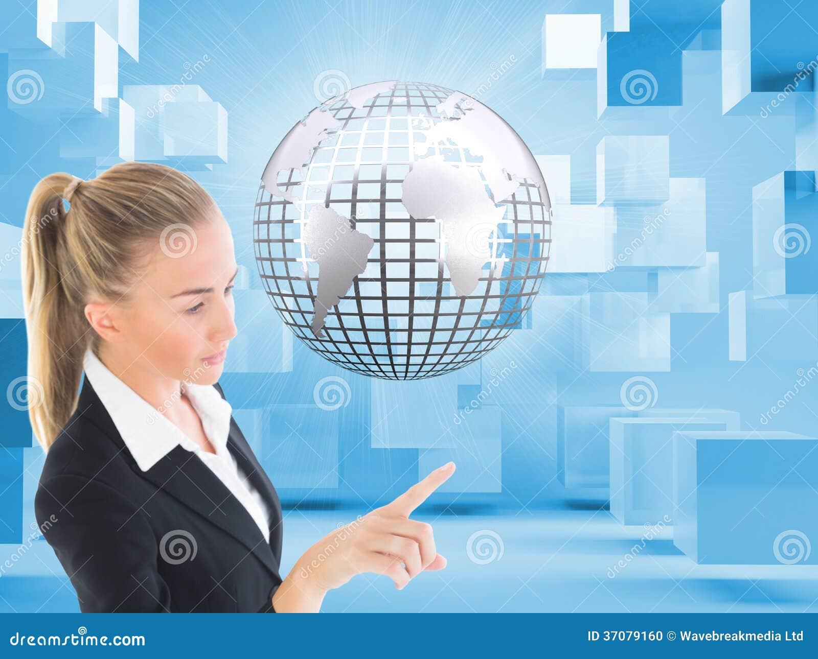 Download Bizneswoman Wskazuje Gdzieś Zdjęcie Stock - Obraz złożonej z pudełko, jeden: 37079160