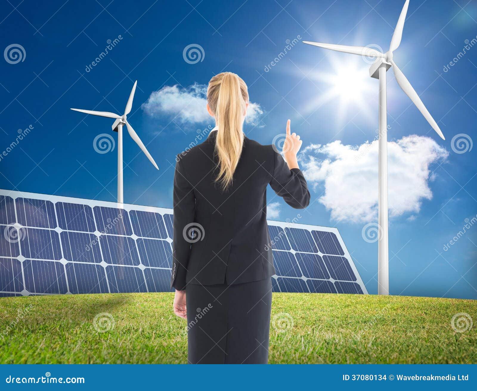 Download Bizneswoman Wskazuje Gdzieś Zdjęcie Stock - Obraz złożonej z błękitny, jeden: 37080134
