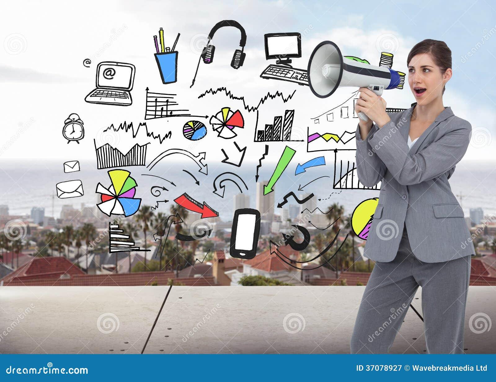 Download Bizneswoman z głośnikiem obraz stock. Obraz złożonej z morze - 37078927
