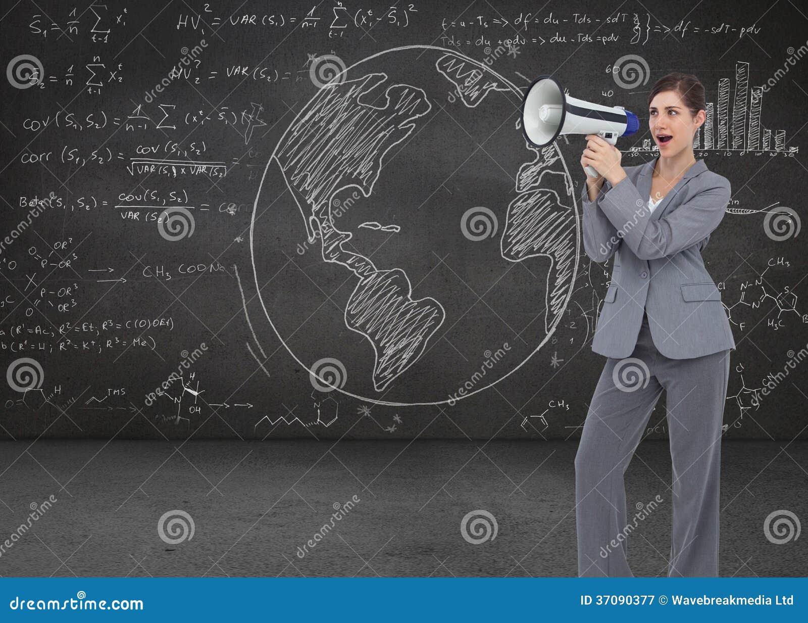 Download Bizneswoman z głośnikiem ilustracji. Ilustracja złożonej z digitalis - 37090377