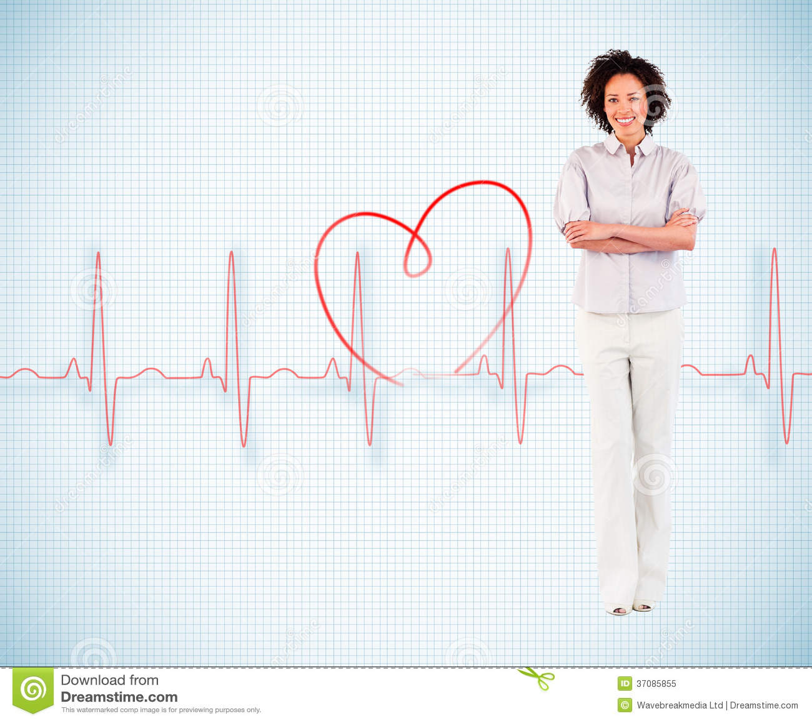 Download Bizneswoman Z Krzyżować Rękami Ilustracji - Ilustracja złożonej z czerwień, zdrowy: 37085855