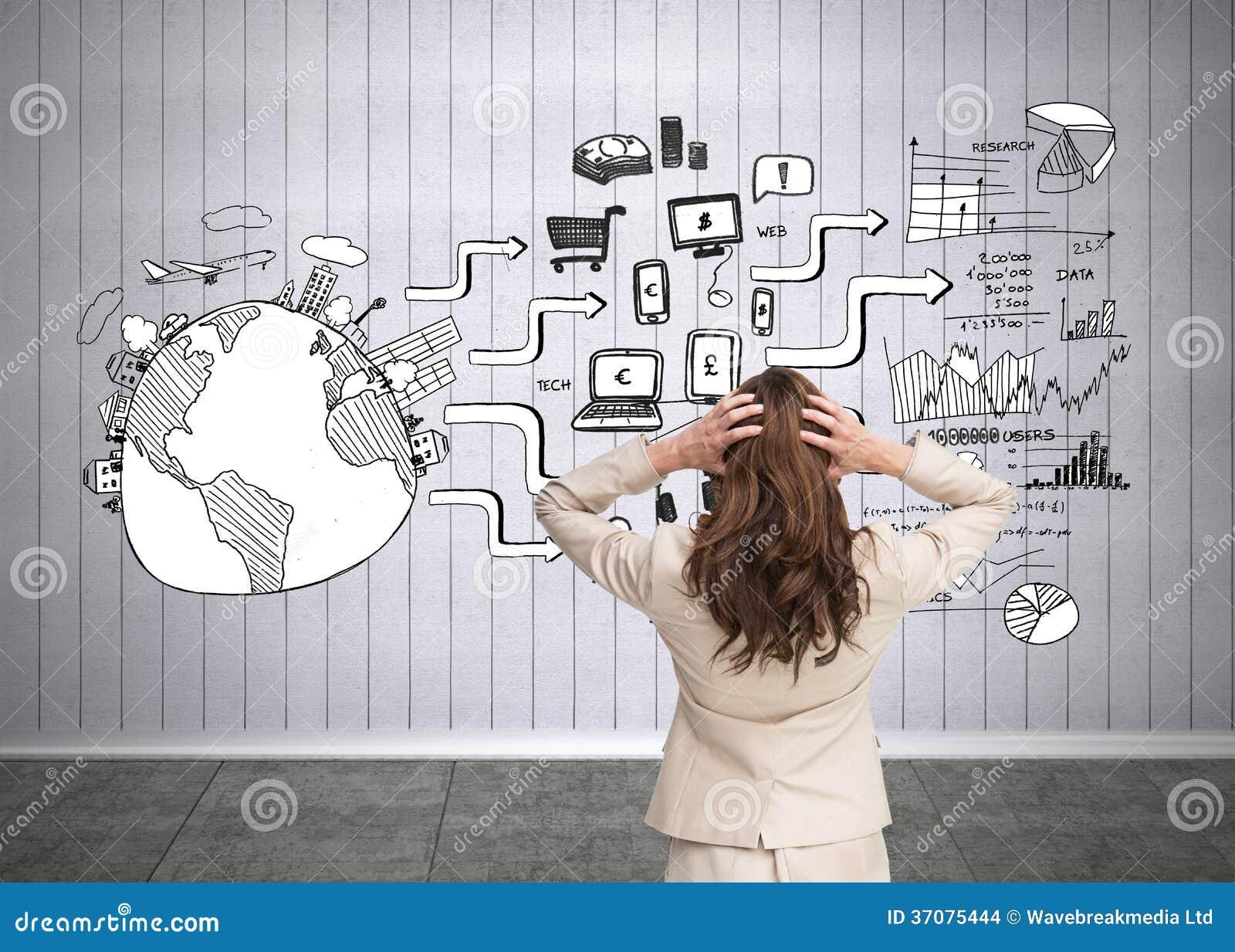 Download Bizneswoman Z Rękami Na Kierowniczy Trwanie Kamera Z Powrotem Zdjęcie Stock - Obraz złożonej z international, ziemia: 37075444
