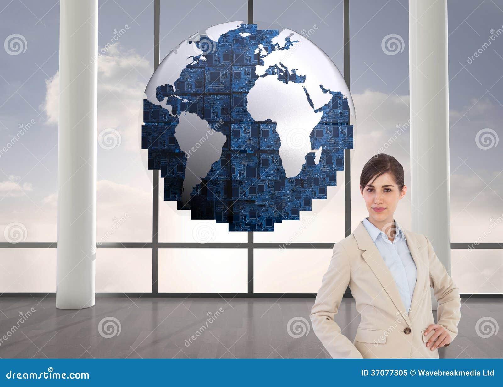 Download Bizneswoman z walizką obraz stock. Obraz złożonej z podłoga - 37077305