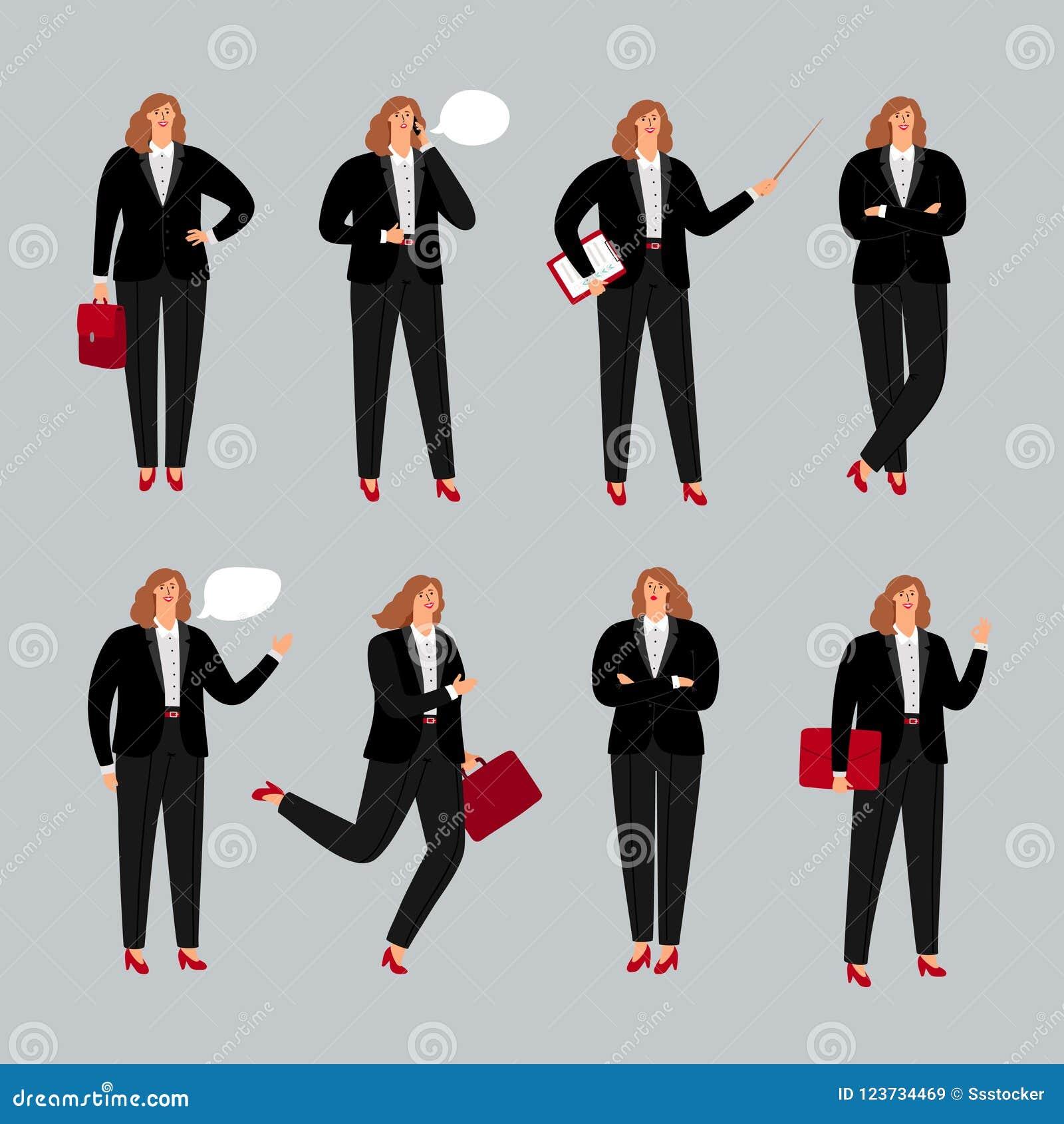 Bizneswomanu charakter Młoda żeńska fachowa wektorowa ilustracja, biznesowej kobiety pozycja, dzwoniący telefonem i