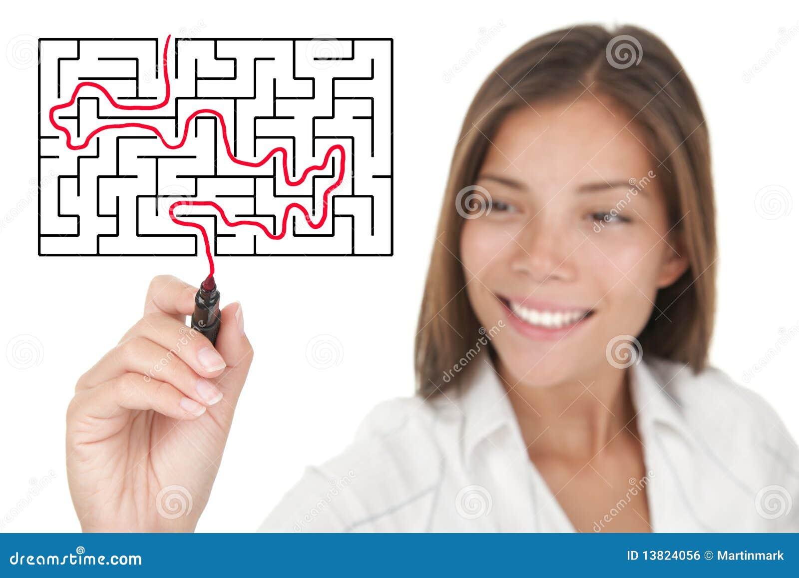 Bizneswomanu labiryntu rozwiązywanie problemów